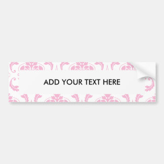 Girly Pink White Vintage Damask Pattern Bumper Sticker