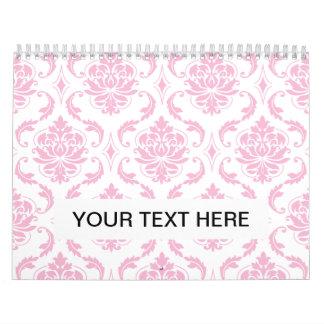 Girly Pink White Vintage Damask Pattern Calendar