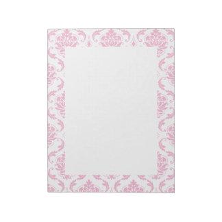 Girly Pink White Vintage Damask Pattern Memo Note Pads