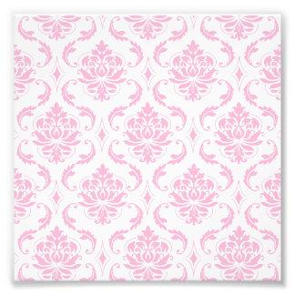 Girly Pink White Vintage Damask Pattern Photo Print