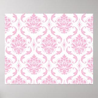 Girly Pink White Vintage Damask Pattern Print