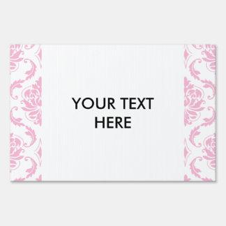 Girly Pink White Vintage Damask Pattern Sign