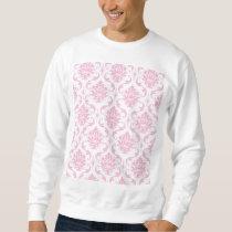 Girly Pink White Vintage Damask Pattern Sweatshirt