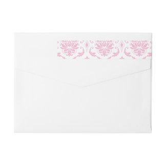 Girly Pink White Vintage Damask Pattern Wrap Around Label