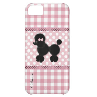 Girly Pink with Poodle Custom iPhone 5C Cover