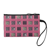 Girly Pink Wooden Framed Animal Prints Coin Wallet