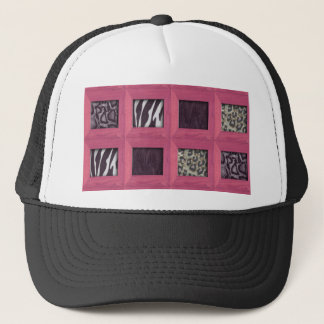 Girly Pink Wooden Framed Animal Prints Trucker Hat