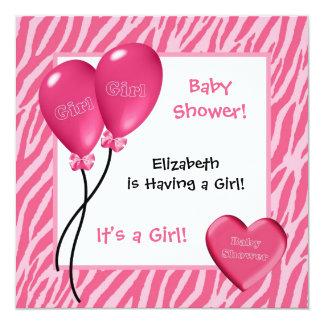 Girly Pink Zebra Print Girl Baby Shower 5.25x5.25 Square Paper Invitation Card