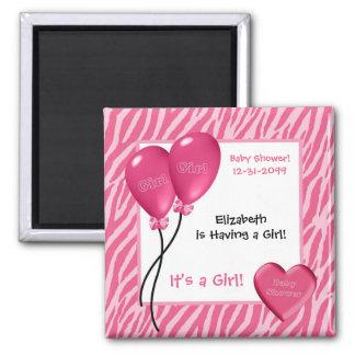Girly Pink Zebra Print Girl Baby Shower Magnets