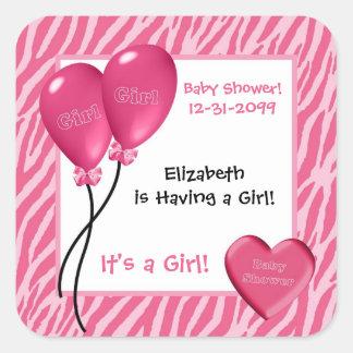 Girly Pink Zebra Print Girl Baby Shower Square Sticker