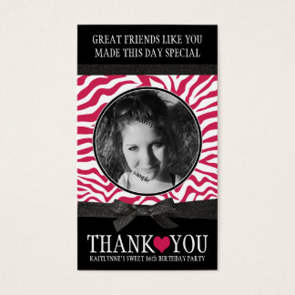 Girly Pink Zebra Thank You Business Card