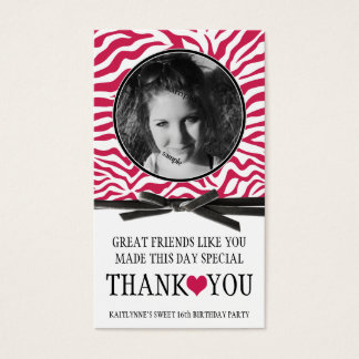 Girly Pink Zebra Thank You with Photo Business Card