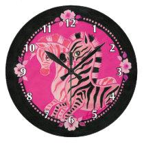 Girly Pink Zebras on Black Large Clock