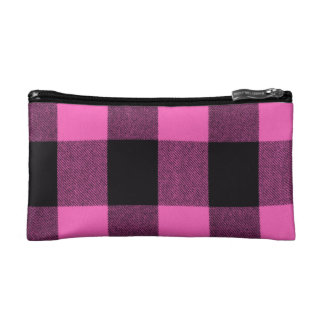 Girly Pinkish Purple & Black Trendy Buffalo Plaid Cosmetic Bag