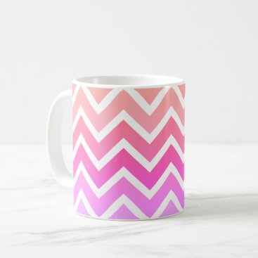 Coffee Themed Girly Pinks & White Chevron Custom Coffee Tea Mug
