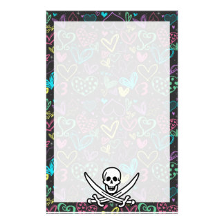 Girly Pirate Chalk Hearts Colorful Stationery Paper