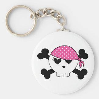 Girly Pirate Skull Keychain