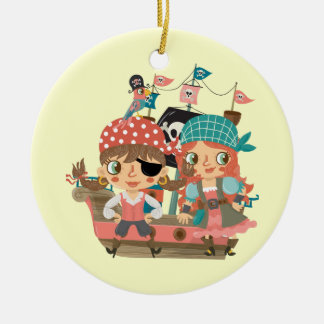 Girly Pirates Double-Sided Ceramic Round Christmas Ornament