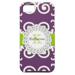 Girly Plum Purple Green Swirls Floral Pattern iPhone 5 Cover