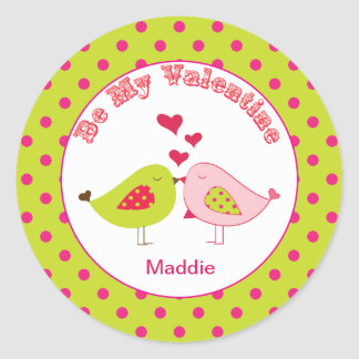 Girly Polka dot Love Birds Valentine Stickers