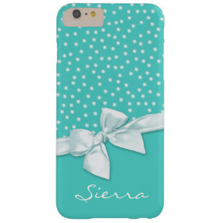 Girly Polka Dots and Bow Teal Personalized Barely There iPhone 6 Plus Case