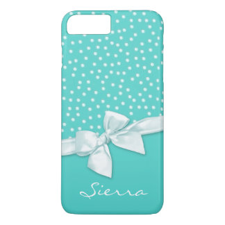Girly Polka Dots and Bow Teal Personalized iPhone 8 Plus/7 Plus Case