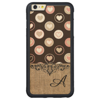 Girly Polka Dots and Burlap Pattern With Monogram Carved® Maple iPhone 6 Plus Bumper Case