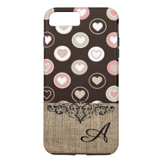 Girly Polka Dots and Burlap Pattern With Monogram iPhone 7 Plus Case