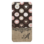 Girly Polka Dots and Burlap Pattern With Monogram Glossy iPhone 6 Plus Case