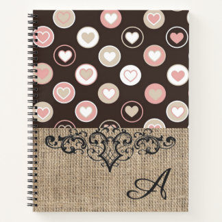 Girly Polka Dots and Burlap Pattern With Monogram Notebook