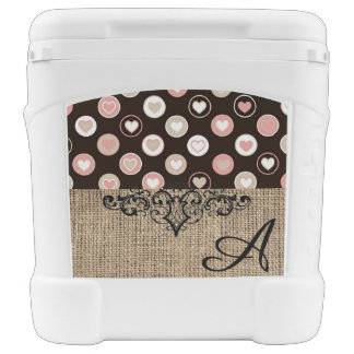 Girly Polka Dots and Burlap Pattern With Monogram Rolling Cooler