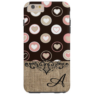 Girly Polka Dots and Burlap Pattern With Monogram Tough iPhone 6 Plus Case