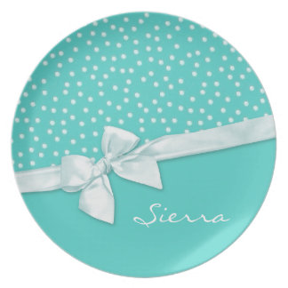 Girly Polka Dots Personalized Plate