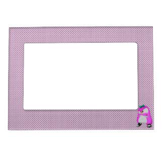 Girly Polka Dots Pink Hip Hop Fashion Penguin Magnetic Frame