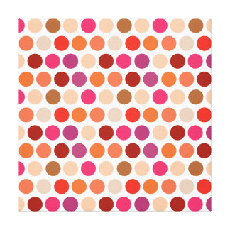 Girly Polka Dots Purple Pink Orange Circle Pattern Canvas Print