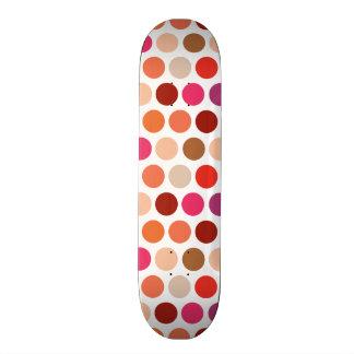 Girly Polka Dots Purple Pink Orange Circle Pattern Skate Board