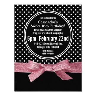 Girly Polka Dots Sweet 16 pink Ribbon Custom Invites