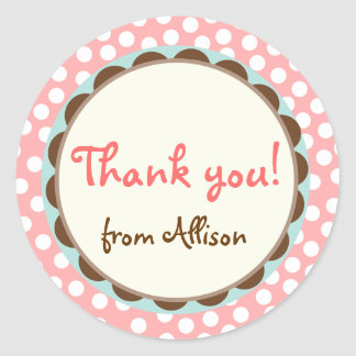 Girly Polka Dots Thank You Stickers