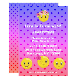 Girly Polkadot Emoji Birthday Invitation