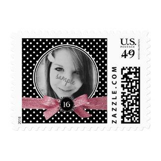 Girly Polkadots with Pink Glitter Ribbon Photo Stamps