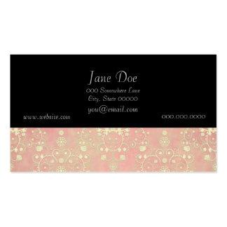 Girly Powder Puff Pink Peach Damask Business Card