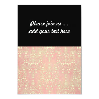 Girly Powder Puff Pink Peach Damask Card