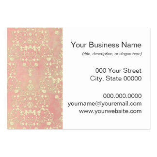 Girly Powder Puff Pink Peach Damask Large Business Card