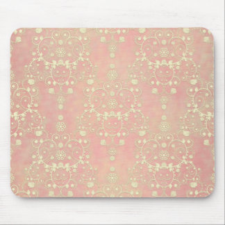 Girly Powder Puff Pink Peach Damask Mouse Pad