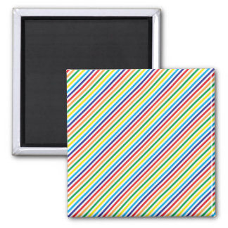 Girly Pretty Colorful Rainbow Diagonal Stripes Magnet