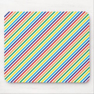 Girly Pretty Colorful Rainbow Diagonal Stripes Mouse Pad