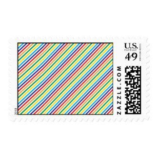 Girly Pretty Colorful Rainbow Diagonal Stripes Postage