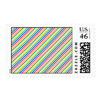 Girly Pretty Colorful Rainbow Diagonal Stripes Stamps