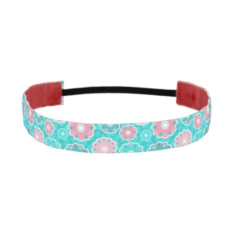 Girly pretty floral pink and aqua athletic headband