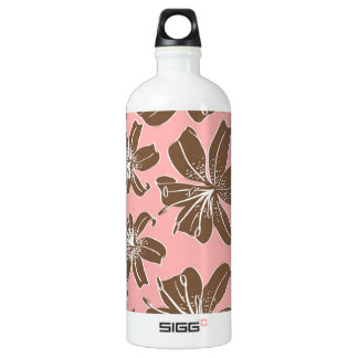 Girly Pretty Pink and Brown Floral Print Line Art Aluminum Water Bottle